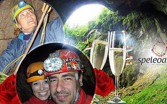 Romantika v jeskyni pro 2 osoby se šampaňským! Macocha - privátní speleoferrata 40 metrů pod zemí! Platnost do června