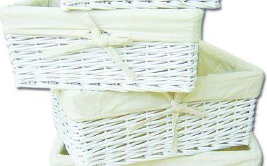Set 4 košíků Wicker White