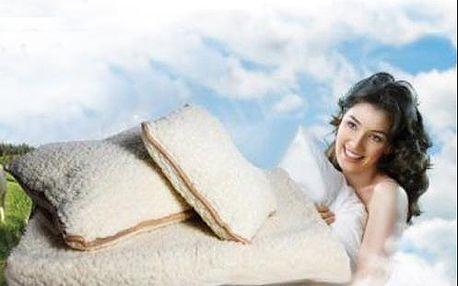 Hrejivá posteľná súprava z ovčej vlny, veľká deka + 2 vankúše