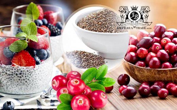Chia semínka 500 g + brusinky proslazené 500 g! Zbavte se hladu, dodejte tělu energii, potřebné vitamíny a vlákninu!