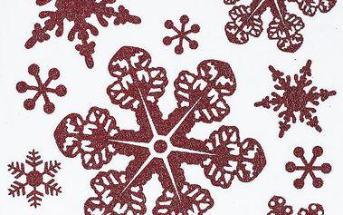 Vánoční okenní dekorace vločky červená
