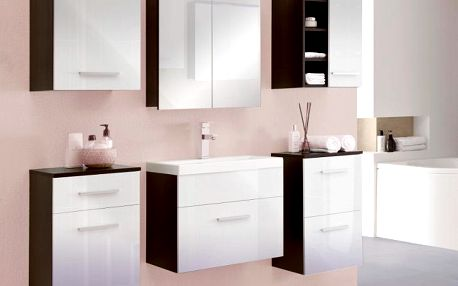 Stylová koupelna MEGI 10 Wenge / Bílý lesk