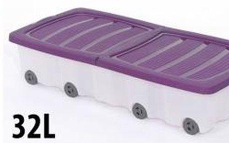Úložný box pojízdný s klip víkem 32 l plastový 17x37,5x79 cm zelený ProGarden KO-Y54220090zele