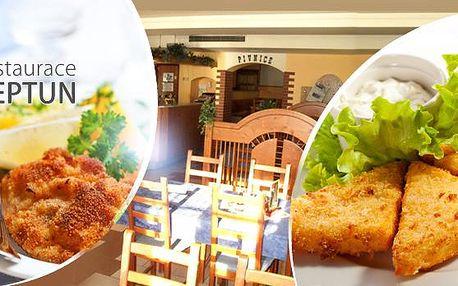 2x smažený sýr Eidam+ 2x hranolky nebo 500 g vepřových a kuřecích řízků + chleba + 2x pivo Pardál v restauraci Neptun.