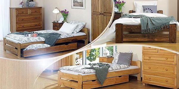 Kvalitní postele z masivního borovicového dřeva včetně roštu a zdravotní matrace! Výběr z 6 rozměrů.