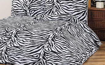 4Home Bavlněné povlečení Zebra, 220 x 200 cm, 2 ks 70 x 90 cm, 220 x 200 cm, 2 ks 70 x 90 cm