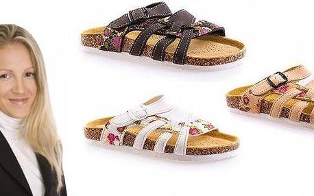 Pohodlné dámské domácí korkové pantofle, výběr z několika barev a velikostí, s poštovným v ceně! Pantofle mají nastavitelný pásek okolo nártu a kožená tvarovatelnou stélku.