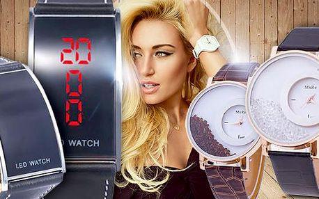 Pánské digitální LED hodinky a dámské hodinky s přesýpacími krystaly! Jedinečný modní doplněk pro oba!