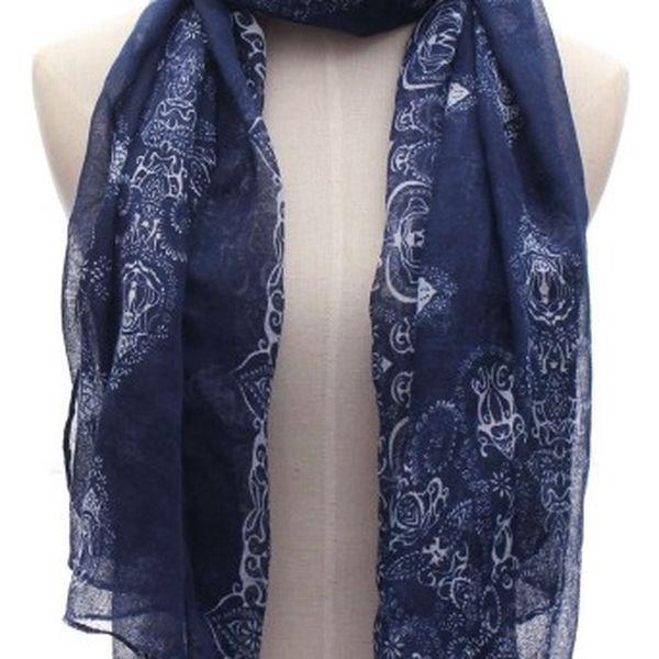 Modrý šátek s ornamenty - dodání do 2 dnů
