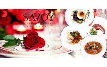 Valentýnský večer pro 2 osoby v Savoy restauraci v Brně! Čeká vás dokonalé4-chodové romantické menu se sektem i kávou, živá hudba, pro dámu připravená růže a romantické prostředí! K dispozici i speciální VIP varianta s osobním číšníkemv soukromém v salo