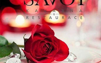 Valentýnský večer pro dva v Savoy restauraci v Brně. 4chodové romantické menu, sekt, káva a další.