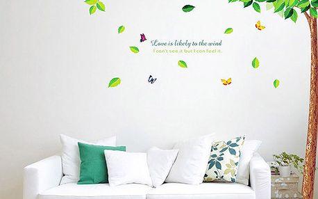 Samolepka na zeď - Strom s padajícími listy