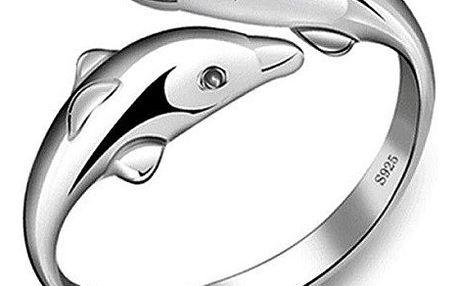 Nastavitelný prstýnek v podobě delfínků