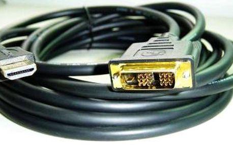 Gembird Kabel C-TECH HDMI-DVI 1,8m, 1.3, M/M stíněný, zlacené kontakty