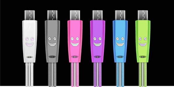 Barevný datový micro USB kabel s LED světlem