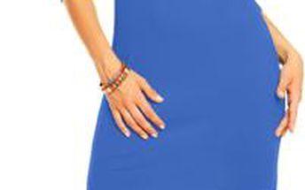 Akce - Mini šaty Emma s asymetrickým výstřihem s volánky - chrpa L/XL, chrpa