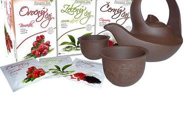 Čajový set s 2 šálky, konvičkou a 3 druhy čajů