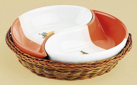 Keramické servírovací misky, 2 díly, oranžovo - červená
