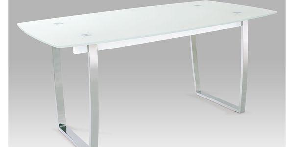 Jídelní stůl A897 WT, bílé sklo/chrom