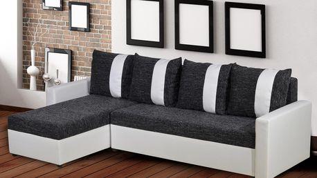 Rohová sedačka TICO, univerzální roh, černá/bílá ekokůže
