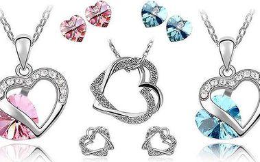 Luxusní set šperků s náušnicemi, řetízkem a přívěskem s krystaly ve tvaru srdce
