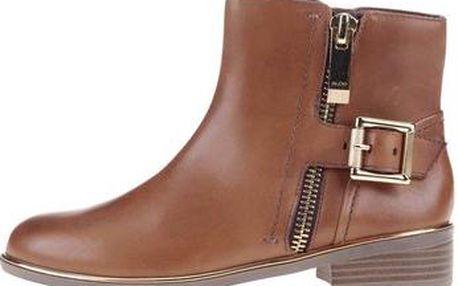 Hnědé dámské kožené boty ALDO Alyva