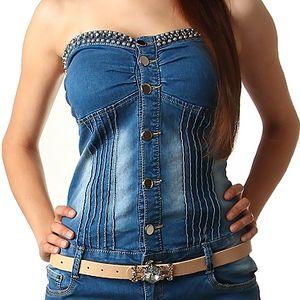 Dámské zdobené džínové mini šaty bez ramínek