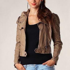Extravagantní koženková bunda tmavě béžová