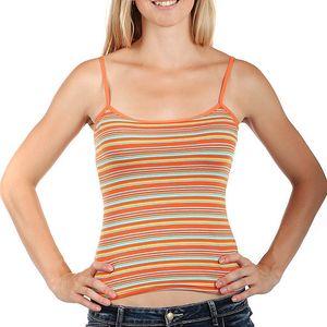 Barevné pruhované tílko s úzkými ramínky oranžová