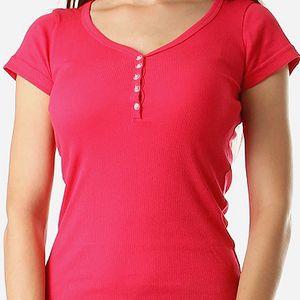 Jednoduché tričko v několika barvách tmavě růžová