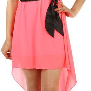 Krásné šaty s delším zadním dílem neon růžová