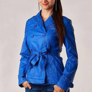 Dámský koženkový kabátek modrá