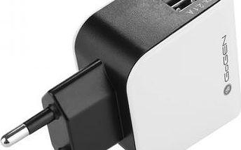 Nabíječka do sítě GoGEN ACH 200, 2x USB, černo-bílá barva (GOGACH200) černá/bílá