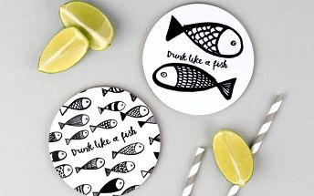 Set 4 podtácků Karin Åkesson Design Drink Like A Fish