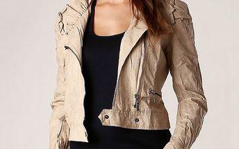 Extravagantní koženková bunda světle béžová