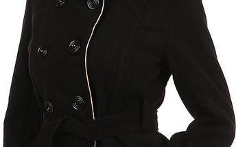 Zajímavý kabát s kontrastním lemováním a s moderním límcem hnědá