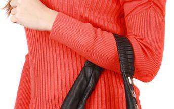 Dámský elegantní svetřík s nabíraným rukávem červená