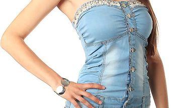 Dámské džínové mini šaty bez ramínek