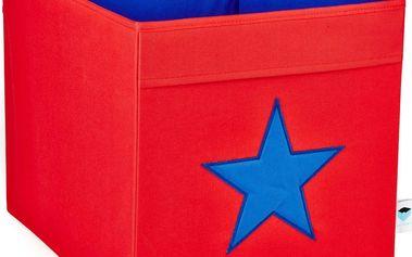 STORE !T Velký úložný box červený s modrou hvězdou