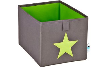 STORE !T Úložný box šedý se zelenou hvězdou