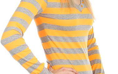 Pruhované tričko s dlouhým rukávem zelená