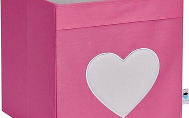 STORE !T Úložný box Srdíčko, 33x33x33 cm - růžový, Růžová