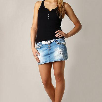 Dámská mini sukně s páskem trhaný efekt