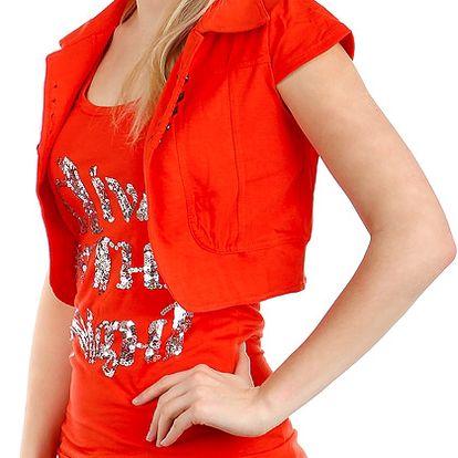 Krásné bolerko k tričkům a k tílkům světle červená