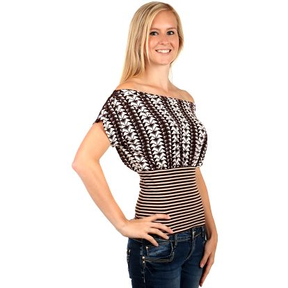 Elegantní tričko s úzkým pasem hnědá
