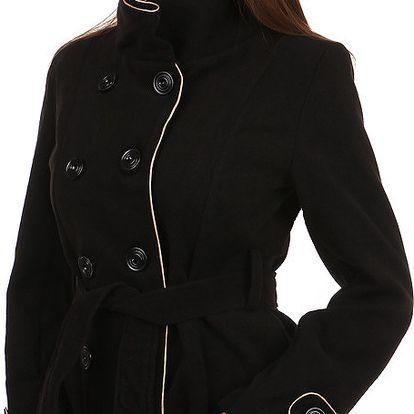 Dámský kabát s kontrastním lemováním - i pro plnoštíhlé červená