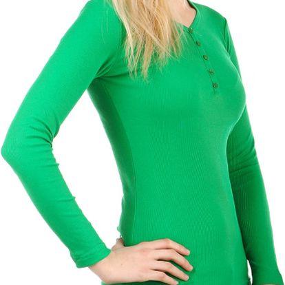Jednoduché tričko s dlouhým rukávem zelená