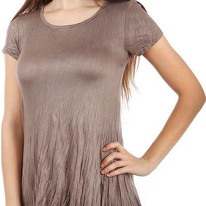 Pohodlné tričko s krátkým rukávem světle hnědá