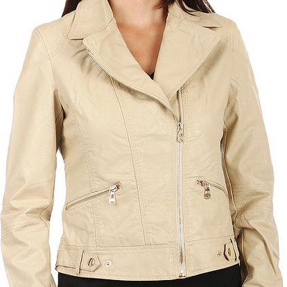 Koženková dámská bunda se zipem na straně fialová