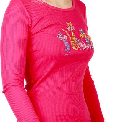 Tričko s kamínkovým potiskem růžová